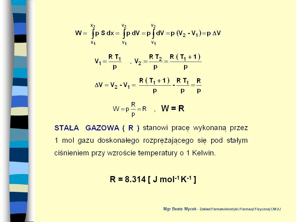 R = 8.314 [ J mol-1 K-1 ] Mgr Beata Mycek - Zakład Farmakokinetyki i Farmacji Fizycznej CM UJ
